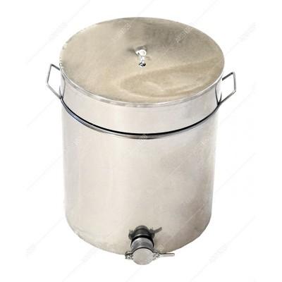 Бак-отстойник для меда на подставке с подогревом, 50 л (из нержавеющей стали, кран — нержавеющий)