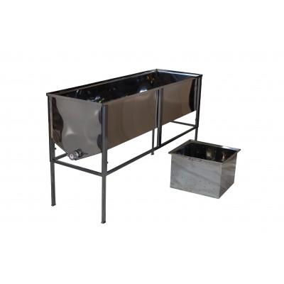 Стол для распечатывания сот -1,5 метра,толщина 0,5 мм, с двумя корзинами глубокими
